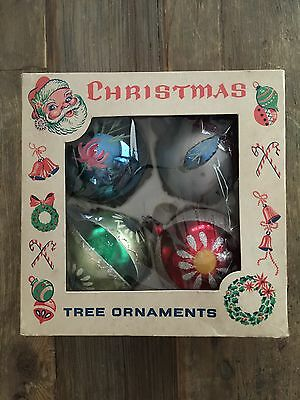"""(4) Vintage 3-1/2"""" Mercury Glass Christmas Ornaments Made In Poland"""