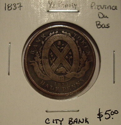 Province Du Bas 1837 Half Penny Token - City Bank