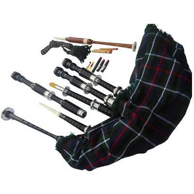 Scottish Great Highland Bagpipe Rosewood Black Color Silver Plain Mounts