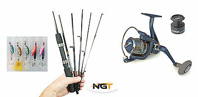 Silstar Carbon travel Spin rod & Reel + line & spinners -compact only 33.5cm