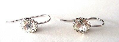 Pair of Victorian Sterling Silver & Single Paste Stone Earrings