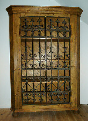 Impressive large rustic Spanish style old pine cabinet/armoire, iron gate doors