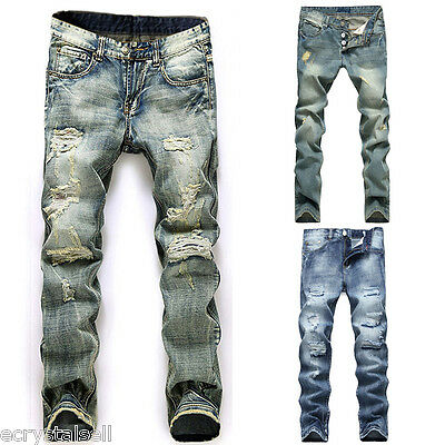 New Jeans Mens Straight Casual Pants Denim Distressed Ripped Jean Trousers 29-38