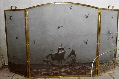 William Hunt Ditderich Style Fireplace Screen with Ship and Birds