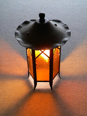 Antique Art Deco porch fixture sconce with amber slip shades