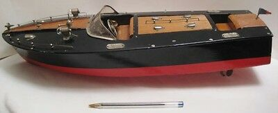 "Spectacular Antique Wood Toy B O Speed Boat Big 18"" Twn Cockpit Japan 1950s RARE"