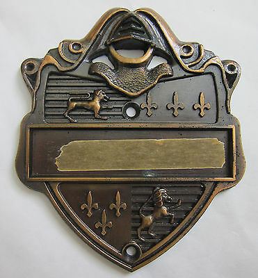 Vintage Crested Medieval Style Door Name Plate Knight's Armor Dog Lion USA Made