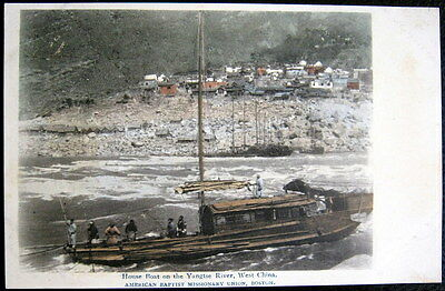 CHINA ~ 1900's HOUSE BOAT ON THE YANGTSE RIVER  WEST CHINA~Town View