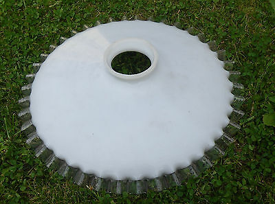 Vintage Reclaimed French Deco Coolie Opaline Glass Lampshade Clear Frilly Edge