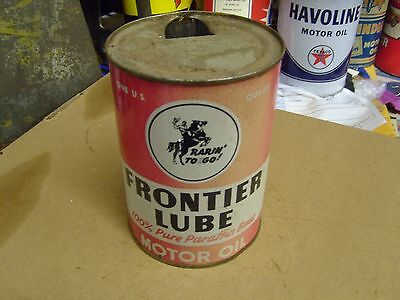 Early Original Frontier Lube Motor Oil One Quart Can Metal