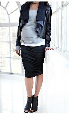 New Isabella Oliver Maternity Sexy Ruched Midi Career Skirt XS 1 US 0/2 ;UK 4/6