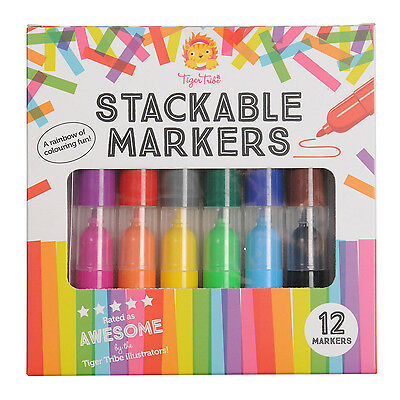 NEW Tiger Tribe Stackable Markers - Kids 12 Pack Colouring Textas Arts Crafts