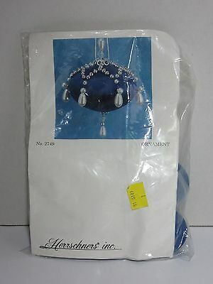 Vintage Herrschners Inc Christmas Sapphire & Silver Ornaments Kit Beads Makes 4