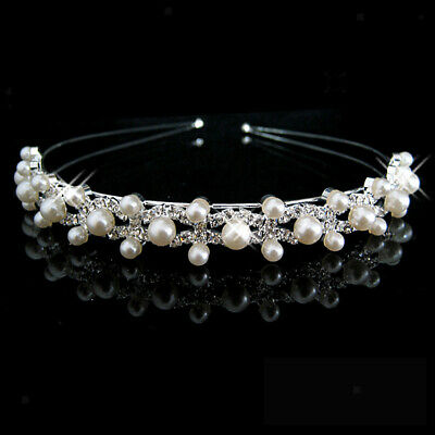Wedding Party Bridal Flower Girl Crystal Double Pearl Crown Headband Tiara
