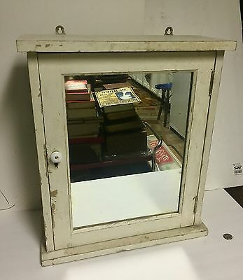 "Antique Medicine Cabinet Mirror ""shabby Chic"" Glass Shelves Porcelain Knob Look!"