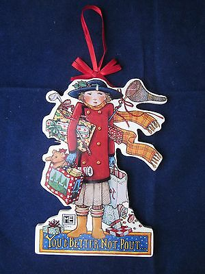 MARY ENGELBREIT Wood Christmas Ornament YOU'D BETTER NOT POUT Midwest of Cannon