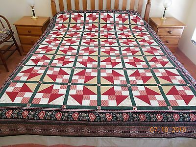 10% Off - Handmade Patchwork Quilt - Large Size - Traditional Pattern.