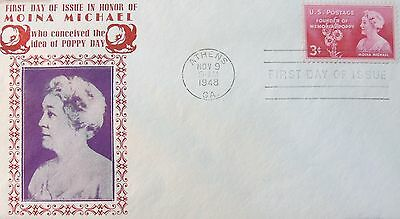 Sc 977-16, Sanders Cachet, 3c Moina Michael Issue FDC- Free Ship US