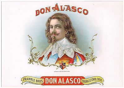 Cigar Box Label Vintage Inner 1902 Don Alasco Youngstown Ohio Original Frankle