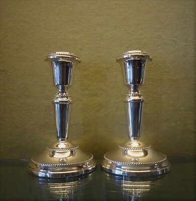 1982s Pair English Solid Silver Candlesticks,  Weighted Base