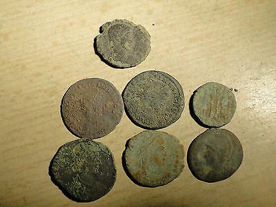 7 Late Roman Bronze Coins all requiring Research and Identification