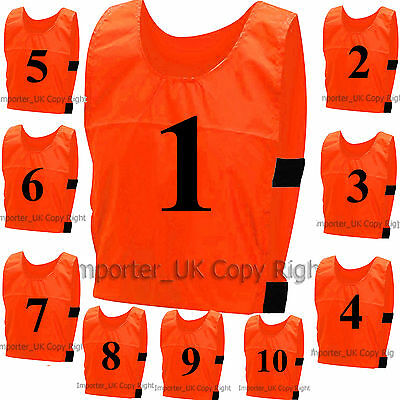 10 FOOTBALL TRAINING SPORTS BIBS Adults Kids NUMBERED Waterproof Hockey Cricket