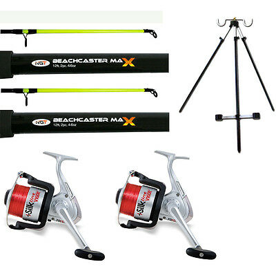 2 x 12ft Beachcaster Rods + 2 Silk 70 Reels + Beach Tripod Sea Fishing Set Kit