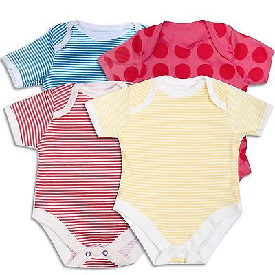 THREE Baby Vests Grows Body Suit Rompers 100% Cotton Newborn 0-3-6-9-12 Months