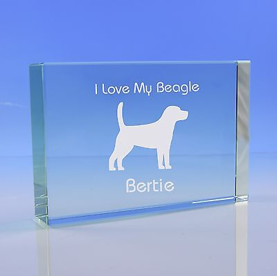 Beagle Dog Gift Personalised Engraved Glass Paperweight Ornament