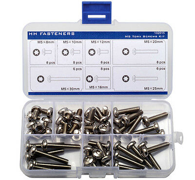 M5 Torx Pan Head Machine Screws Assortment Kit Pack of 52-piece Torx Bolt