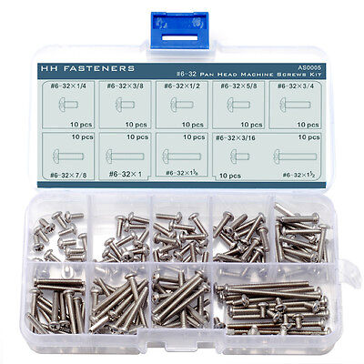#6-32 Phillips Pan Head Machine Screws Assortment Kit Stainless Steel Pack 100