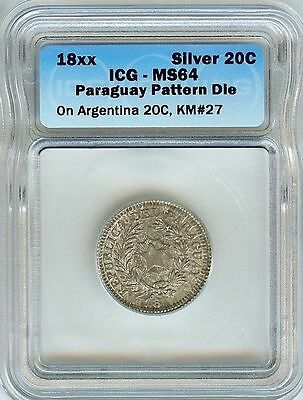 RARE PARAGUAY 18xx 20 CENTS ON ARGENTINA 20C -PATTERN DIE- IGS MS64