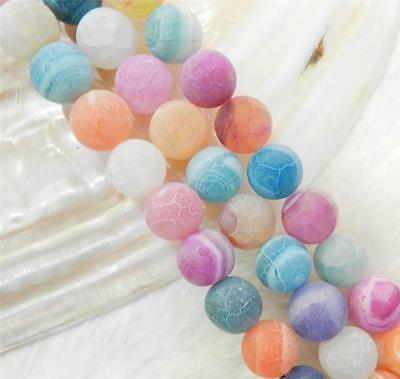 """10mm Multicolor Dream Fire Dragon Veins Agate Round Gems Loose Beads 15"""" AAA"""