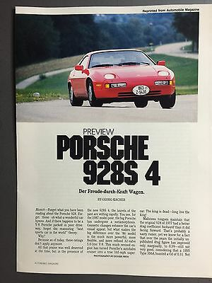 1987 Porsche 928 S4 Showroom Advertising Sales Brochure RARE!! Awesome L@@K