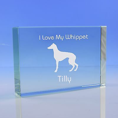 Whippet Dog Gift Personalised Engraved Glass Paperweight Ornament