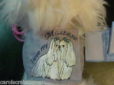 Maltese I Love My Embroidered Wall Hanging Handmade 5 inch dog toy