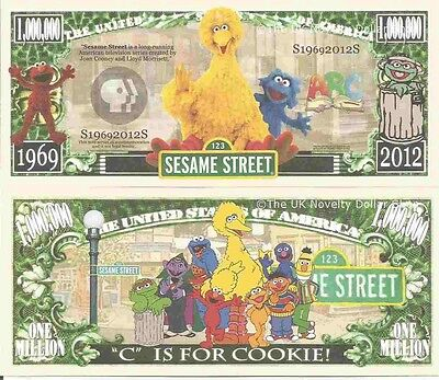 Sesame Street C Is For Cookie Dollar Bills x 4 Elmo Big Bird Cookie Monster