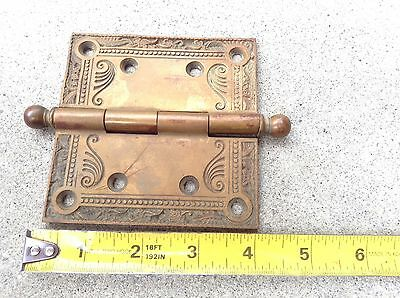 Antique 4x4 Door Hinge Victorian Ornate Fancy Brass True Vintage Architectural