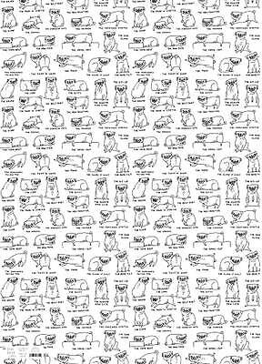Pug Positions Rolled Gift Wrap Paper  2 Sheets 19.5 Inches X 27.5 Inch