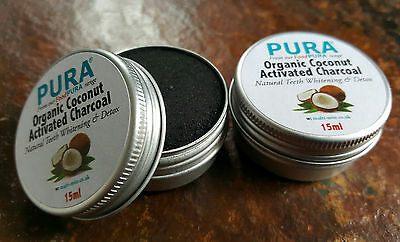 PURA® Fine COCONUT Activated Charcoal Powder 2 x 20ML - Organic Teeth Whitening