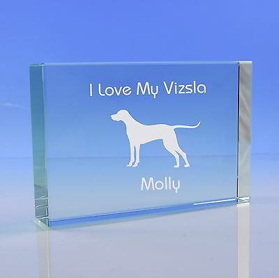 Vizsla Dog Gift Personalised Engraved Glass Paperweight Ornament