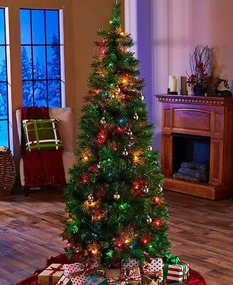 6-Ft Pre-Lit Lighted Pop-Up Christmas Tree Multicolored Lights Easy Assembly