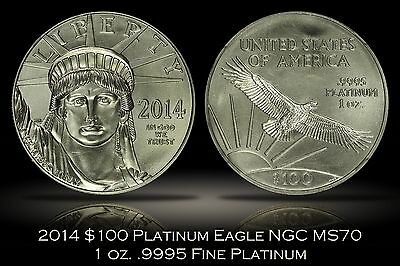 2014 $100 1 oz. .9995 Fine Platinum Eagle NGC MS70 Early Releases Perfect Grade