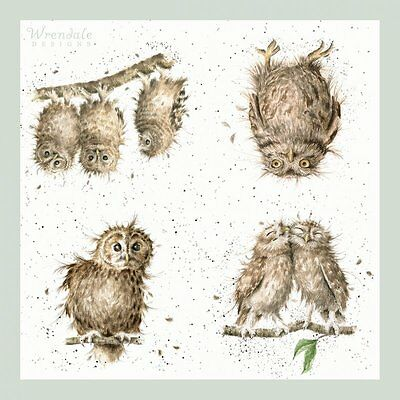 """Wrendale Designs Pack of 20 Three Ply 33cm sq """"What a Hoot """" Owl Paper Napkins"""