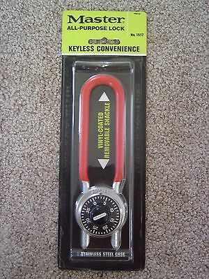 New Master Lock 1517 Long Shackle Combination Padlock New On Carded Package