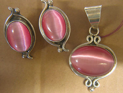 Mexico Beautiful Sterling Silver Pink Tigers Eye Pendant and Earrings