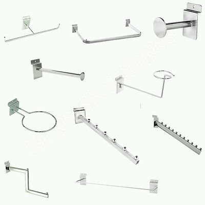 Slat-Wall Chrome Retail Shop Display Panel Accessory Hooks, Arms Available