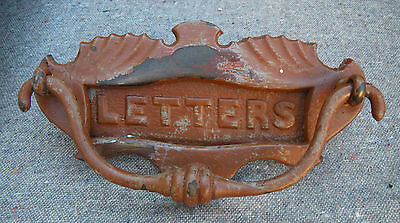 Antique Edwardian Reclaimed Weathered Brass 'letters' Letter Box & Door Knocker