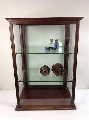 Antique Glass Shop Counter Top Display Cabinet Cupboard Collectors Old Wood Case