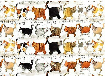 Alex Clark Art Cats Happy Birthday Rolled Gift Wrap 2 Sheets 19.5 In X 27.5 In